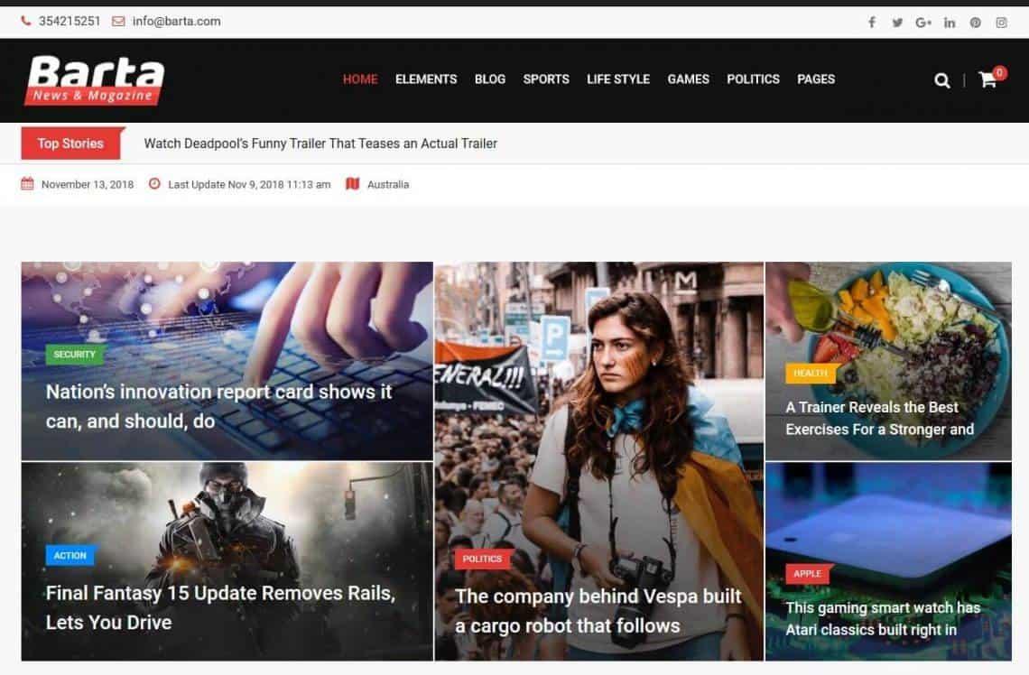 Barta WordPress Theme For Tech Blog