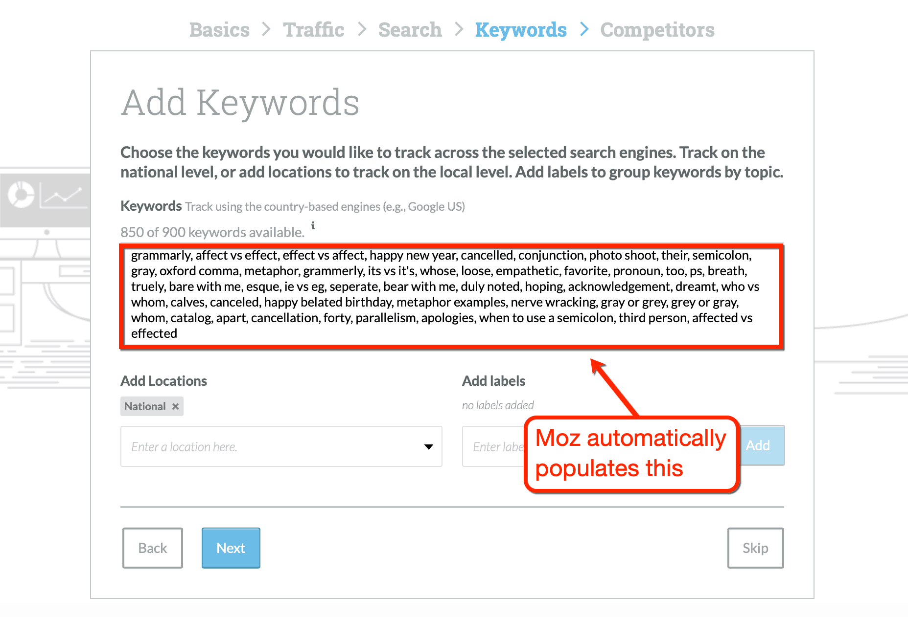moz autofill keywords create campaign