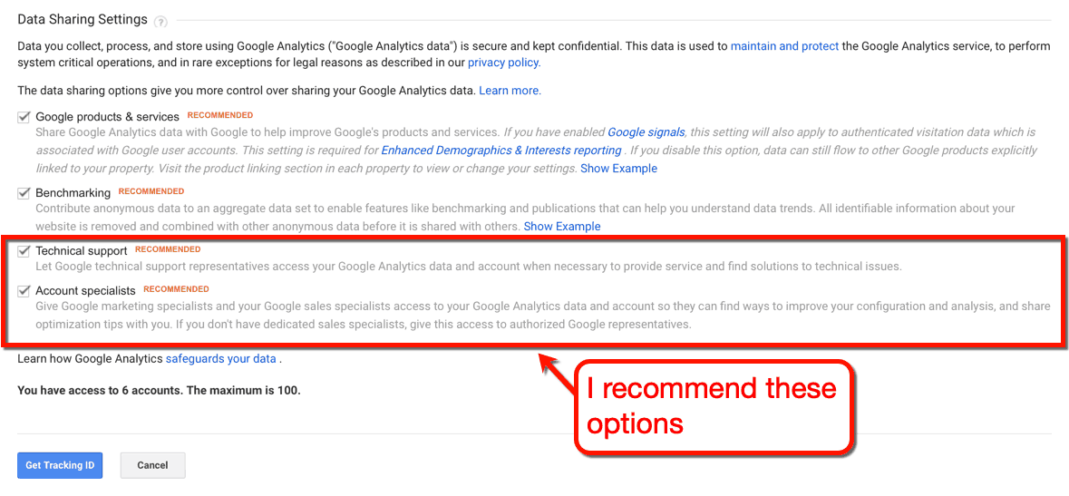 Google Analytics Data Sharing