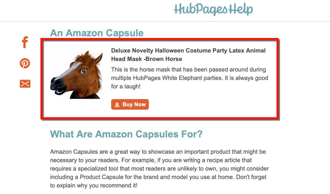 Amazon Affiliate Links in Hubpages Capsule