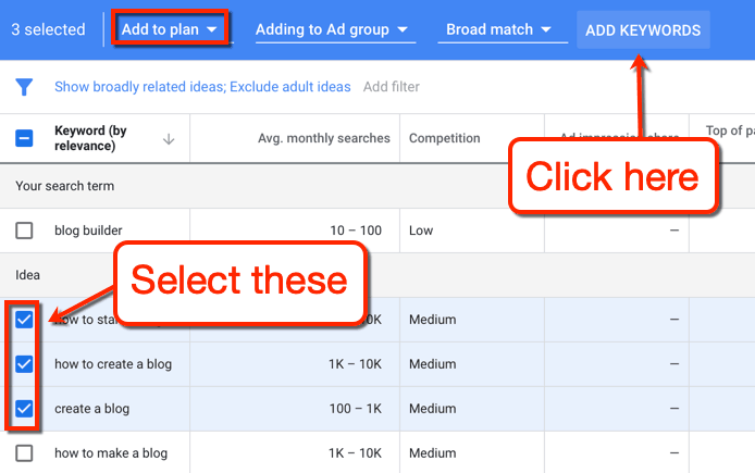 Keyword Planner Select and Add Keywords