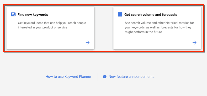 Keyword Planner Start Options