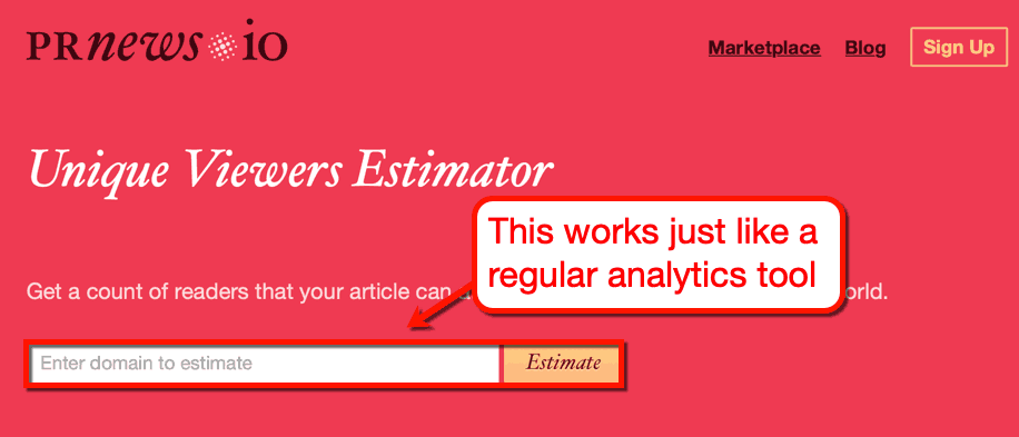 PRNEWS web traffic estimator
