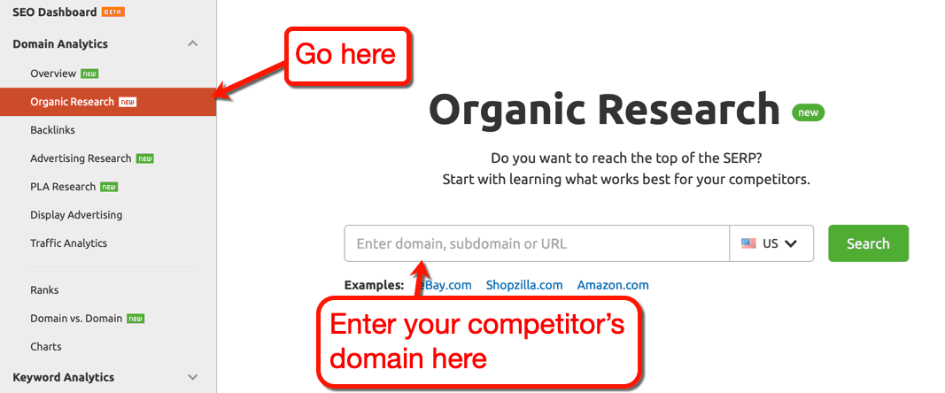 SEMrush organic research tool