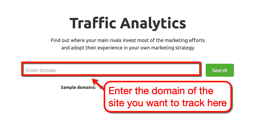 SEMrush Traffic Analytics Search Bar