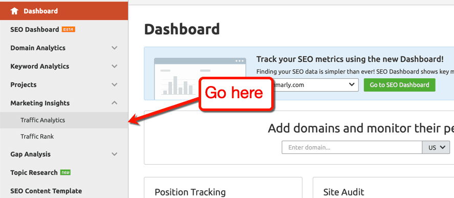Semrush traffic analysis tool