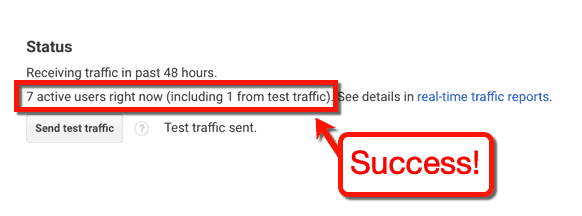 Test Traffic Success