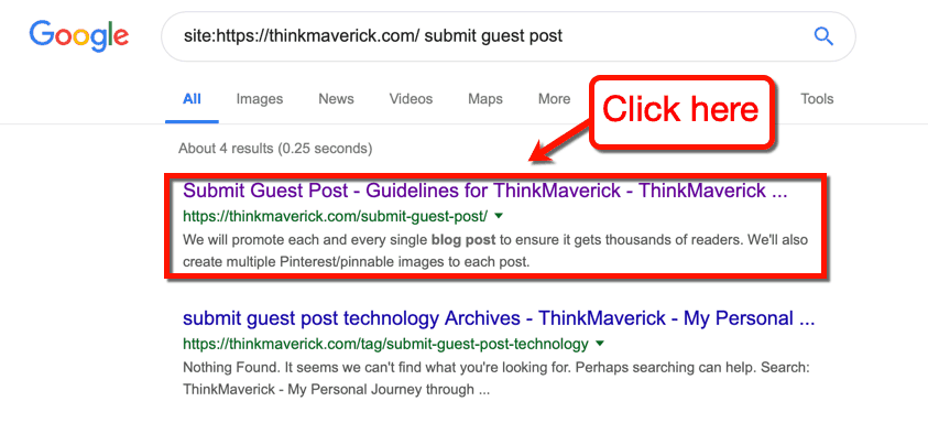 ThinkMaverick in SERP