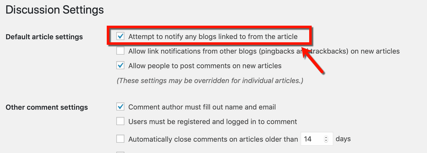 Attempt to notify blogs
