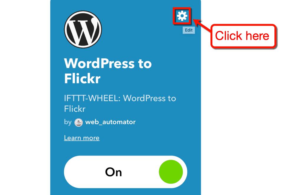 IFTTT Applet Edit Button