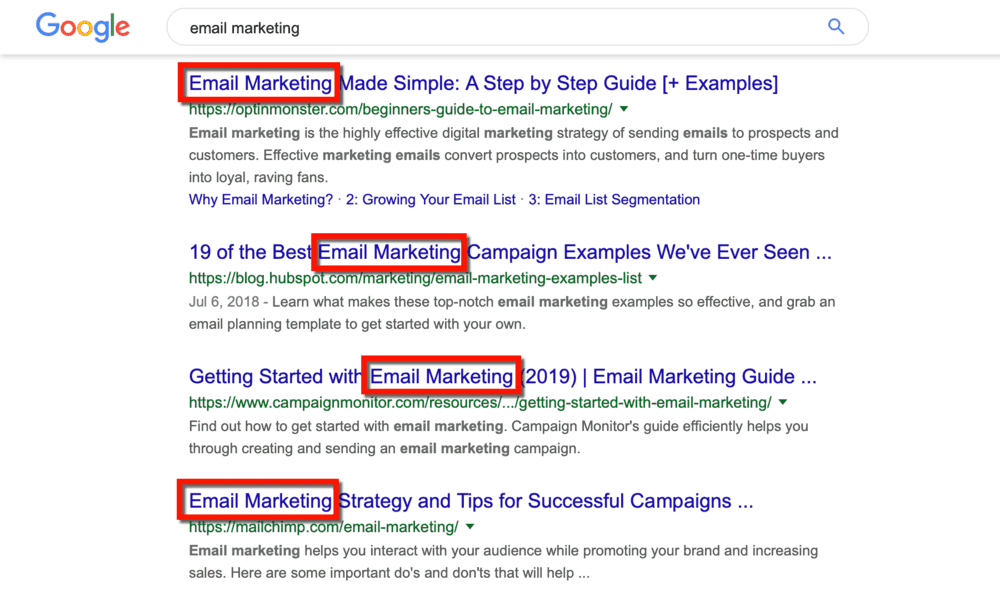 Email Marketing SERP