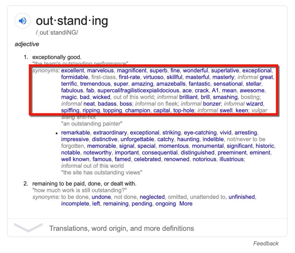 Google Results Outstanding Synonyms