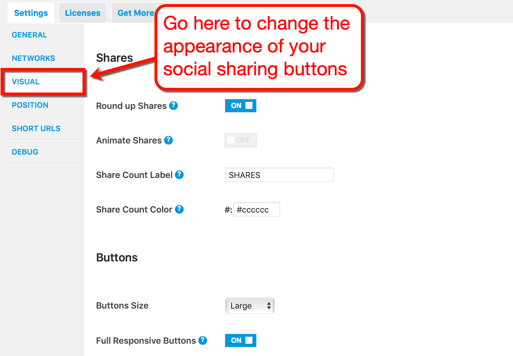 MashShare Visual Settings Page
