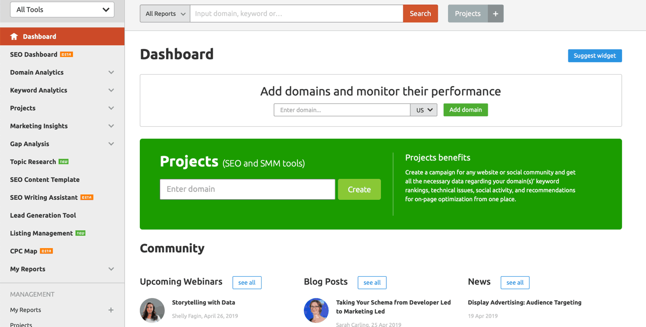 SEMrush dashboard interface