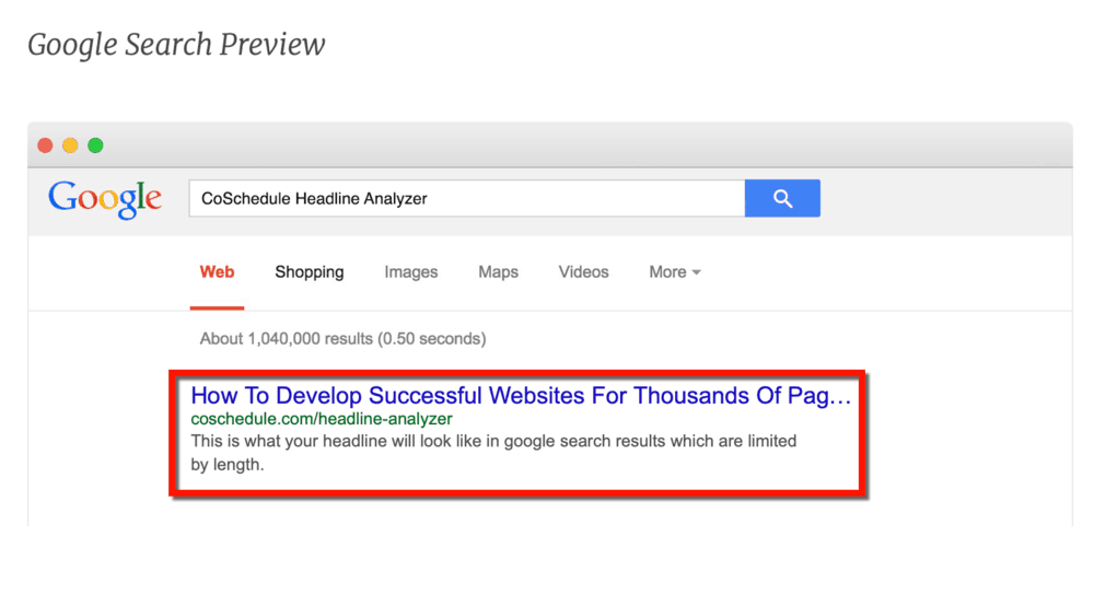 Truncated Headline in SERP Preview