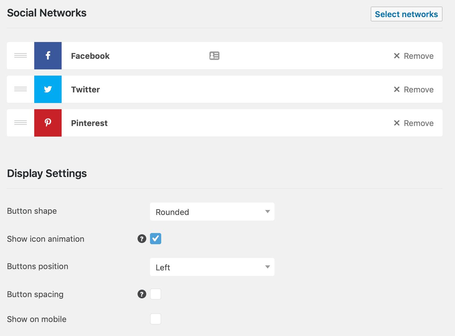 Social Pug Settings Page