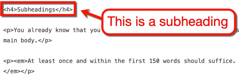 Subheading HTML Tags