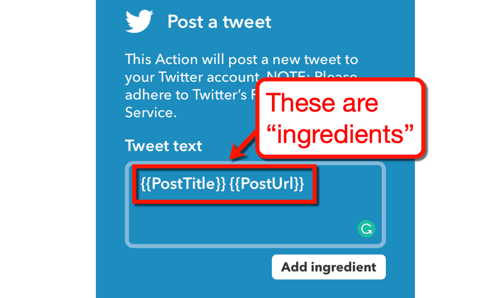What are IFTTT Ingredients
