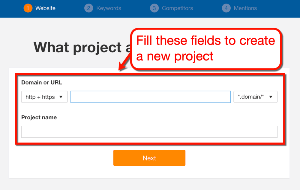 Creating a New Project in Ahrefs