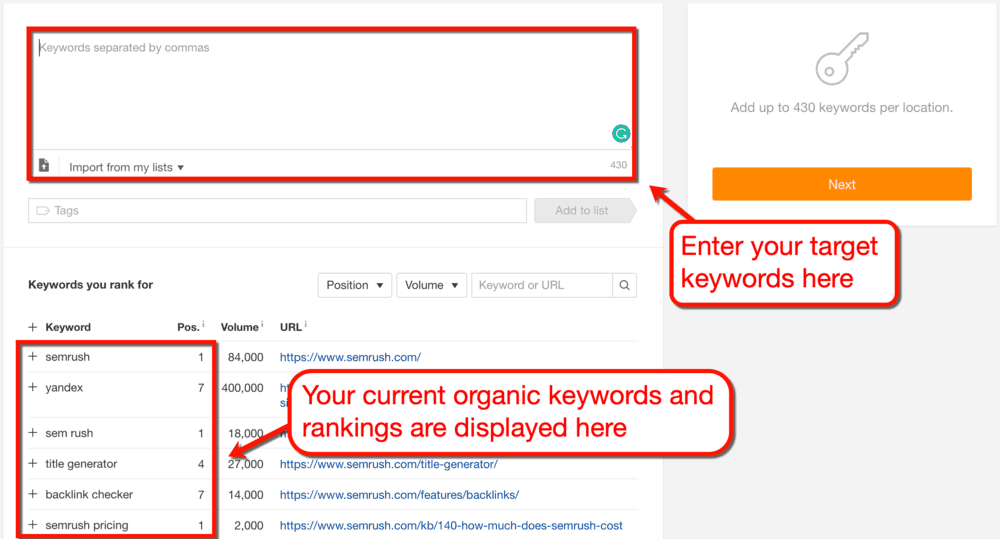 Setting Target Keywords in Ahrefs