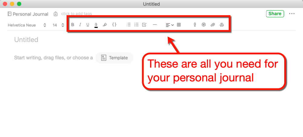 Evernote Toolbar Features