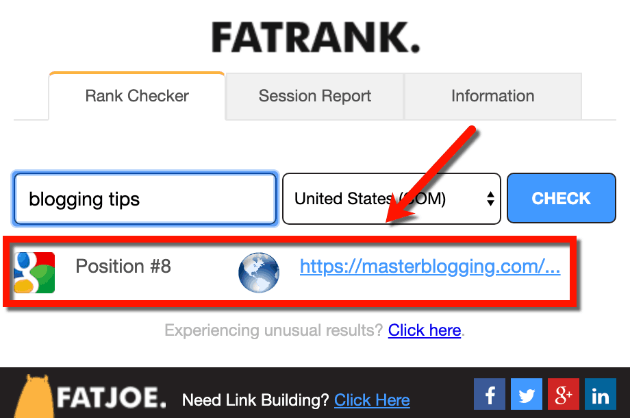 FATRANK Browser Extension Results