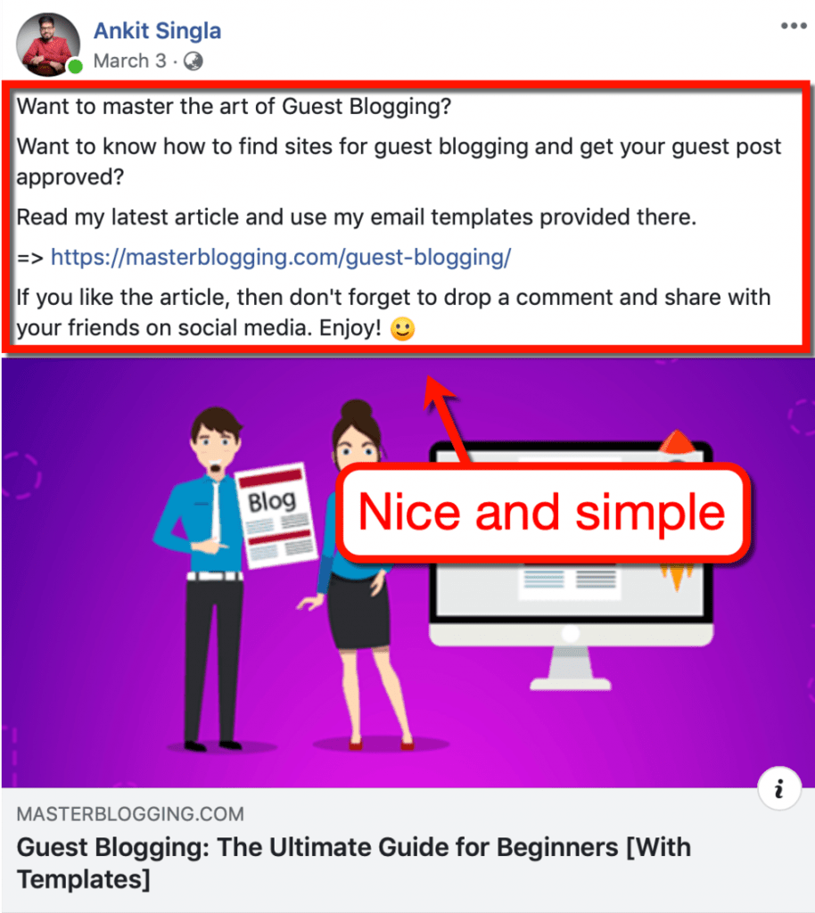 Facebook Post Promotion Example