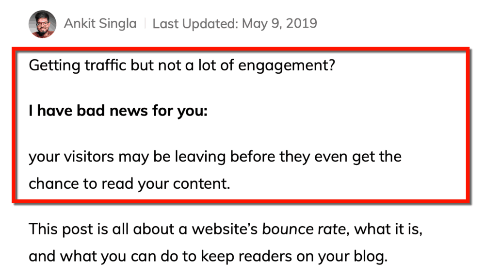 Example from Bounce Rate article