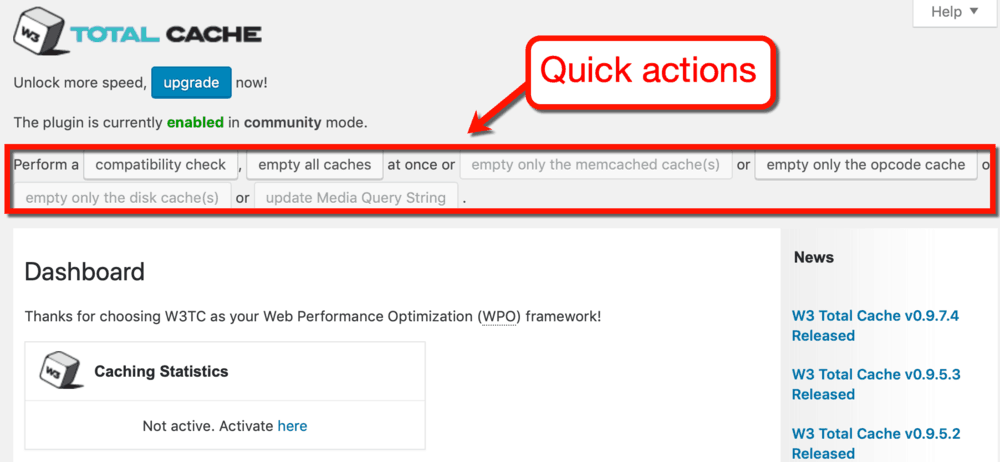 W3 Total Cache Quick Actions