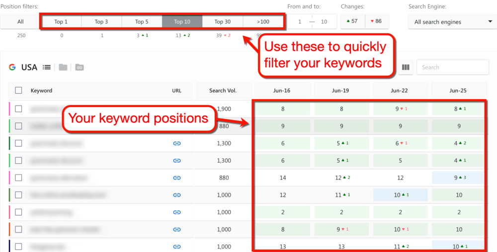 SE Ranking Keyword Filters