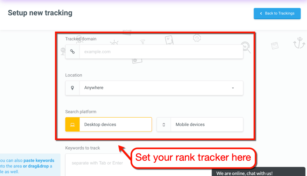 Setup New Tracking with SERPWatcher