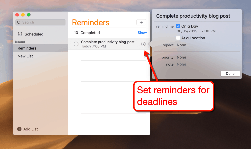 Setting Reminders for Deadlines
