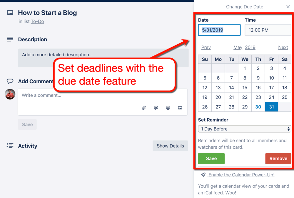 Setting Due Dates for Trello Cards