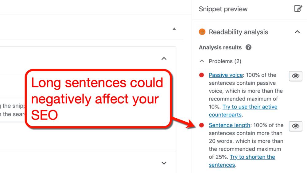 Yoast SEO Sentence Length Alert