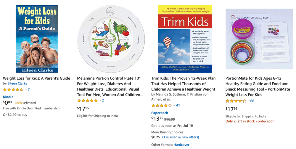 Weight Loss for Children Books