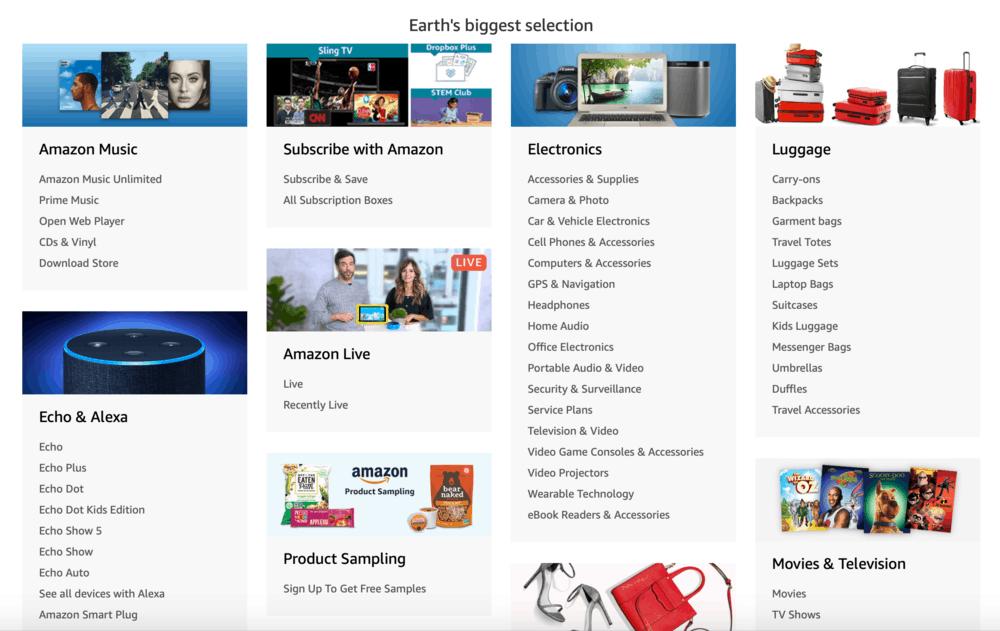 Amazon Bölümleri Sayfası
