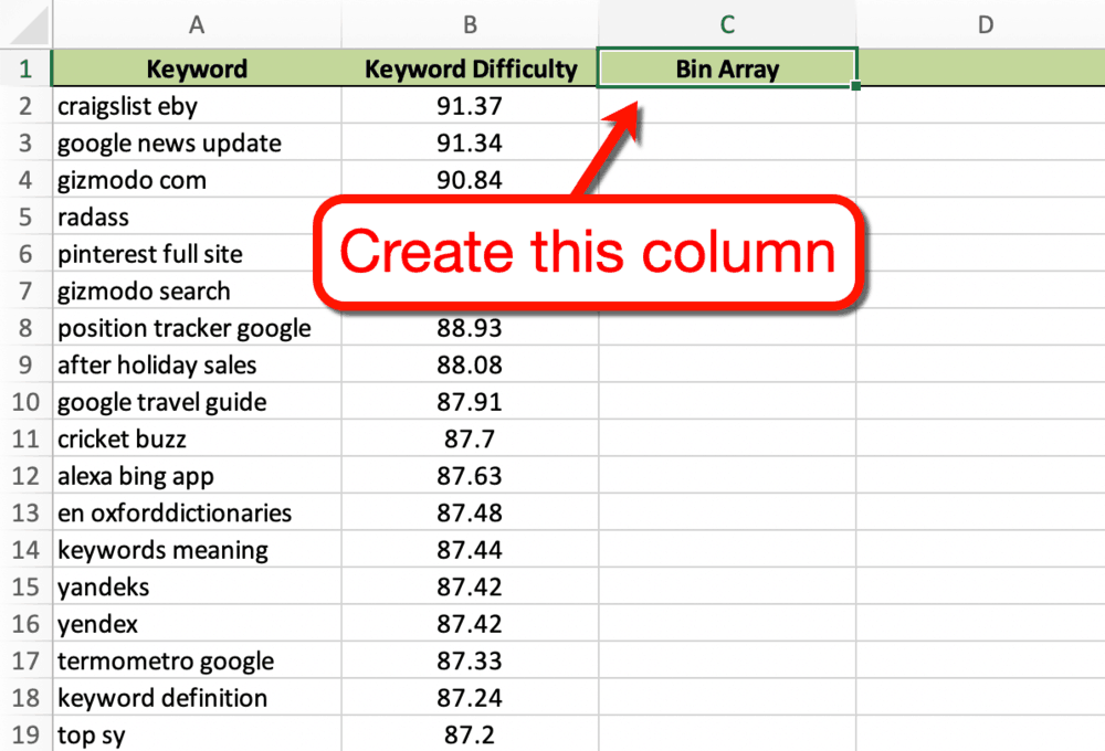 Excel Tracker Bin Array Column