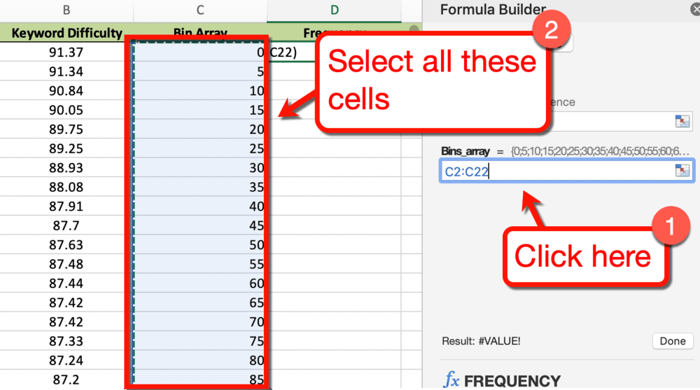 Excel Bin Array Field