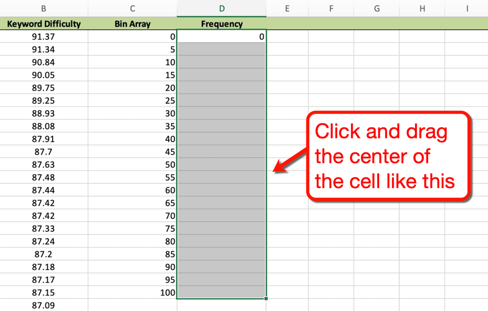 Click and Drag Frequency Cell