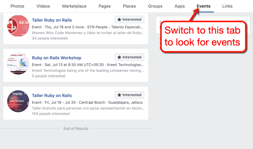 Facebook Etkinlik Ara