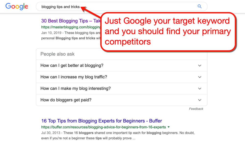 Finding Competitors with Google