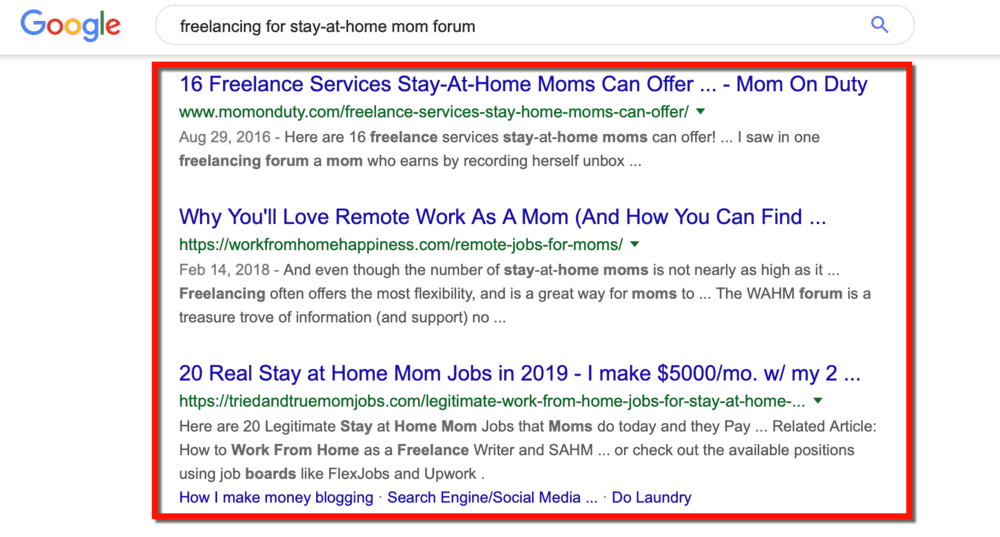 Freelancing for Stay-At-Home Moms SERP