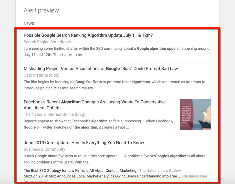 Google Alerts Preview