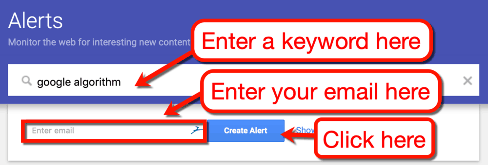 Creating an Alert on Google Alerts