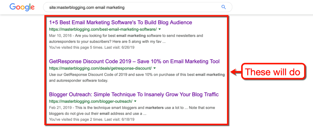 Google SERP Email Marketing