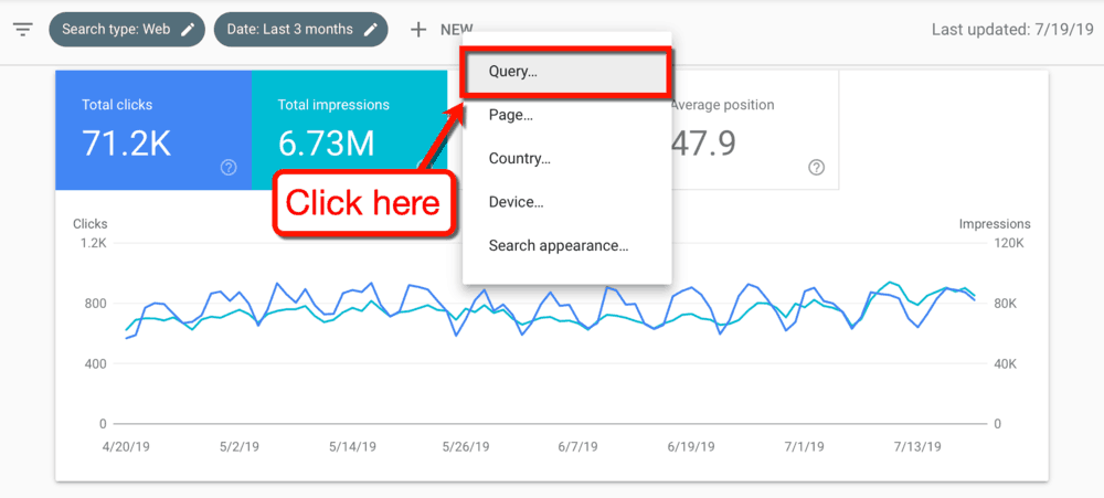 Google Search Console New Query