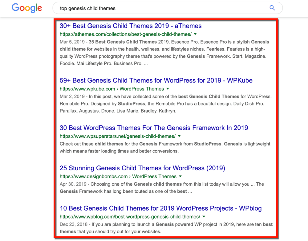 Google SERP Genesis Child Themes