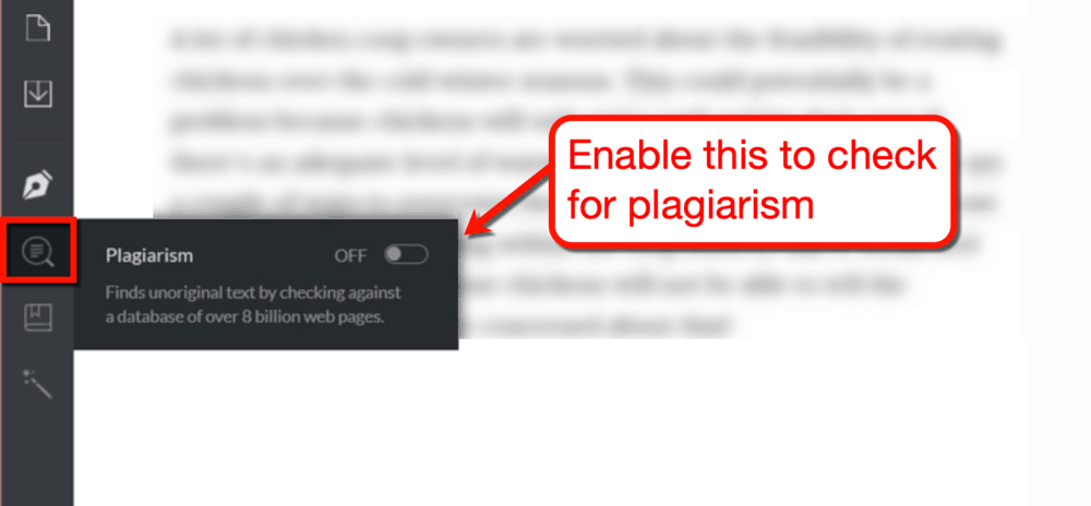 Grammarly Plagiarism Checker Toggle