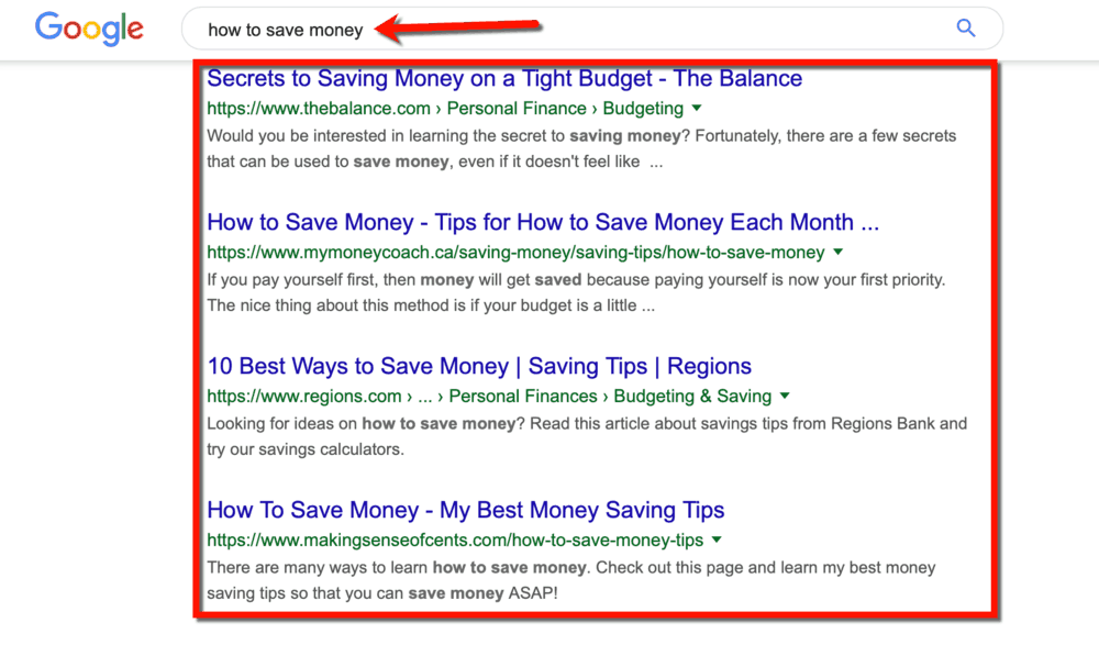 How to Save Money SERP