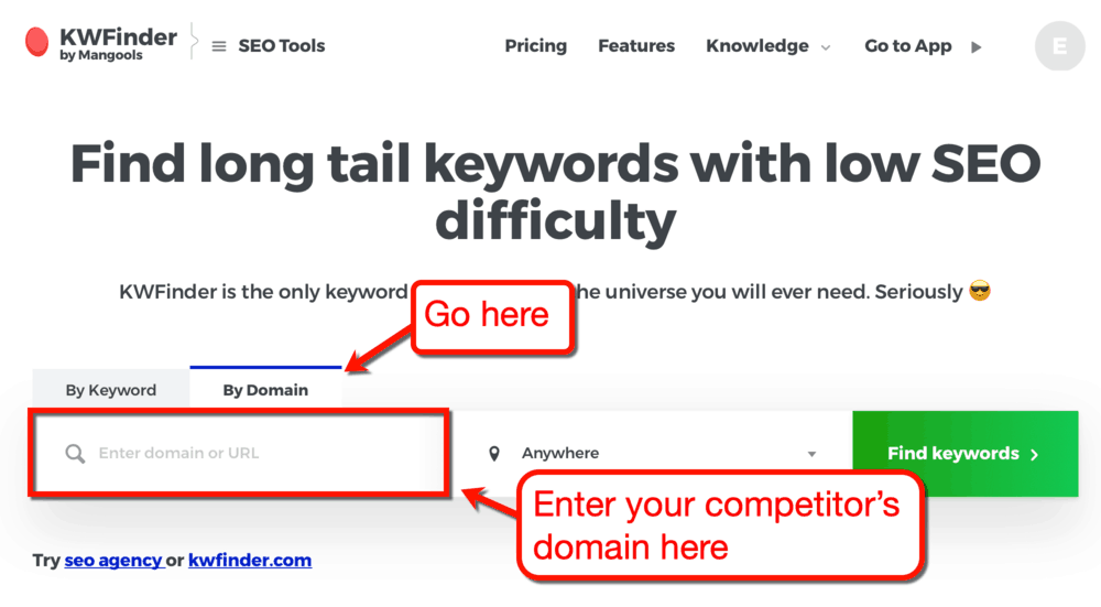 KWFInder Competitor Domain Research